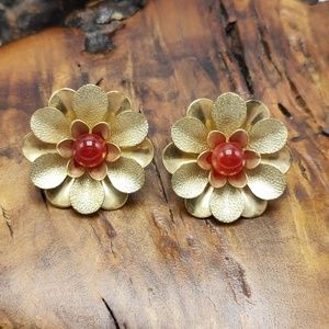 Vintage Sarah Coventry RARE Amber gem gold flower